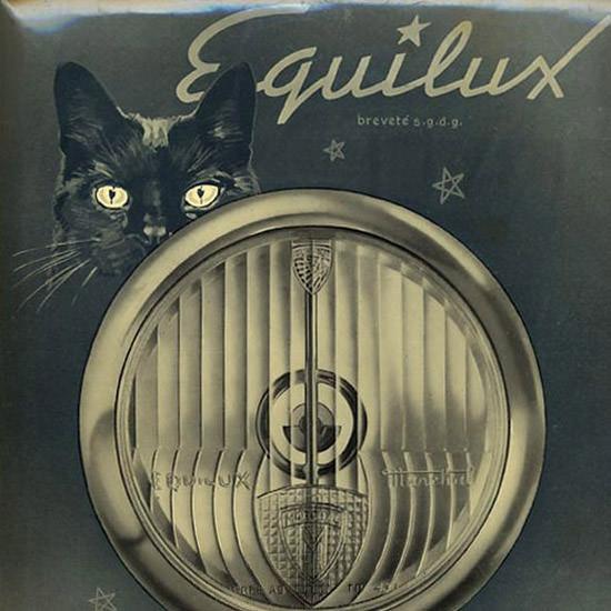 Detail Of Marchal Equilux Lumiere Parfaite 1952 Black Cat | Best of Vintage Ad Art 1891-1970