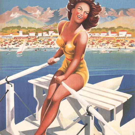 Detail Of Marina Di Massa Apuania Girl On A Rowboat Italia | Best of Vintage Ad Art 1891-1970