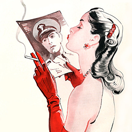 Detail Of Marlboro Cigarettes The Kiss 1944 | Best of Vintage Ad Art 1891-1970