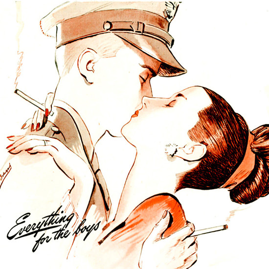 Detail Of Marlboro Everything For Distinction 1943 The Kiss | Best of 1940s Ad and Cover Art