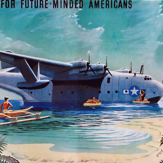 Detail Of Martin JRM Mars US Navy Cargo Seaplane 1935 | Best of Vintage Ad Art 1891-1970