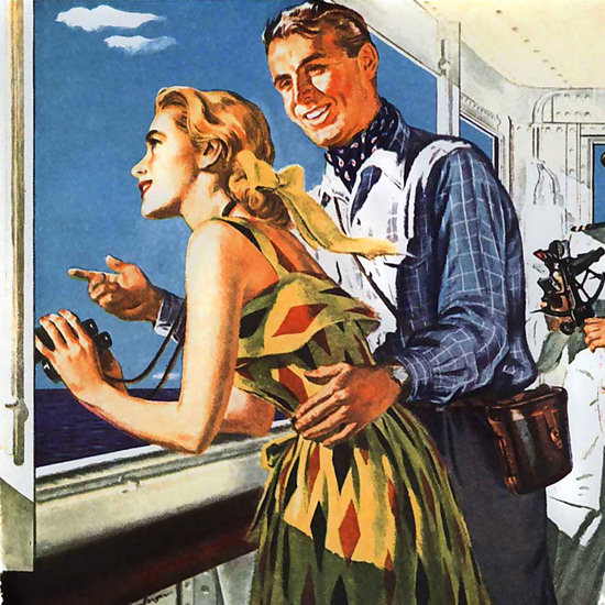 Detail Of Matson Line Hawaii Lurline Calm Pacific 1949 | Best of Vintage Ad Art 1891-1970