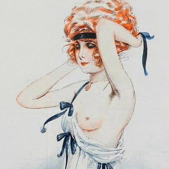Detail Of Maurice Milliere La Vie Parisienne 1918 Femme Coiffee page B | Best of Vintage Ad Art 1891-1970