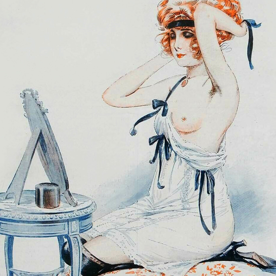Detail Of Maurice Milliere La Vie Parisienne 1918 Femme Coiffee page | Best of Vintage Ad Art 1891-1970
