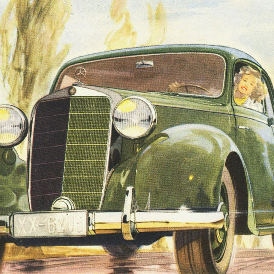 Detail Of Mercedes Benz Type 170 S Sedan 1949 | Best of Vintage Ad Art 1891-1970
