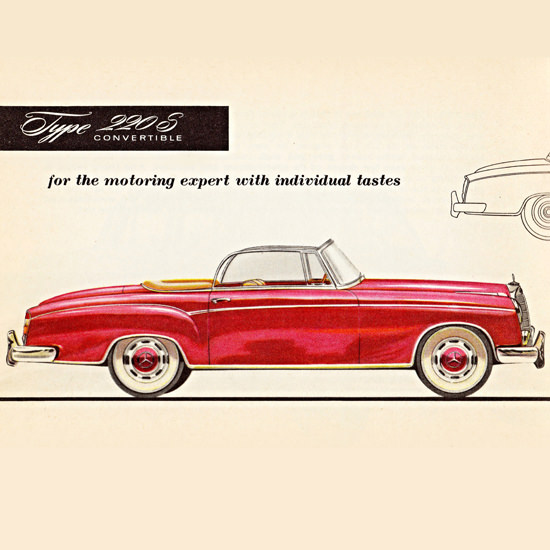 Detail Of Mercedes Benz Type 220 S Convertible 1956 | Best of Vintage Ad Art 1891-1970