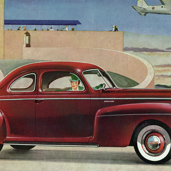 Detail Of Mercury Coupe 1941 Derived Lincoln Zephyr | Best of Vintage Ad Art 1891-1970