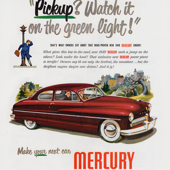 Detail Of Mercury Coupe 1949 Watch It On Green Light | Best of Vintage Ad Art 1891-1970