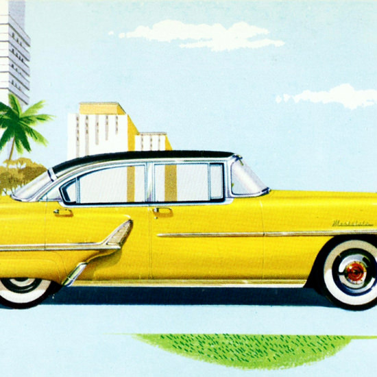 Detail Of Mercury Montclair Sedan 1955 Yellow | Best of Vintage Ad Art 1891-1970