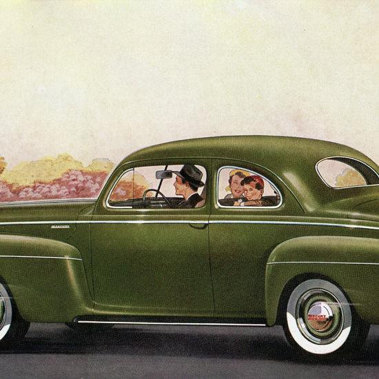 Detail Of Mercury V8 Sedan Coupe 1941 Green | Best of Vintage Ad Art 1891-1970