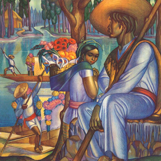 Detail Of Mexico Xochimilco 1940s | Best of Vintage Ad Art 1891-1970