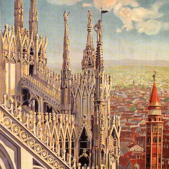 Detail Of Milano The City Italy Italia | Best of Vintage Ad Art 1891-1970