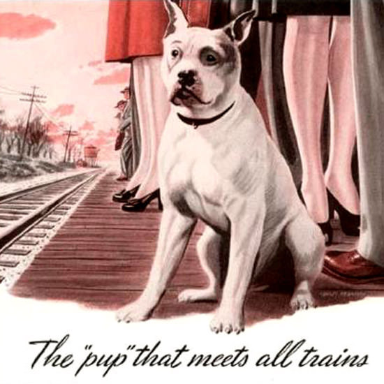 Detail Of Milwaukee Road Pup That Meets All Trains 1943 | Best of 1940s Ad and Cover Art