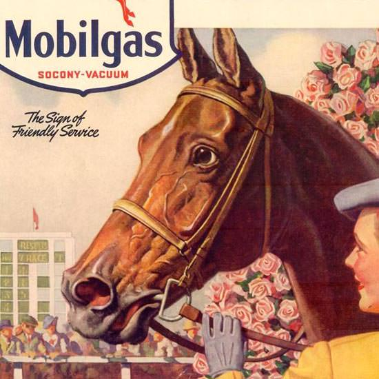 Detail Of Mobilgas Cant Beat That Red Horse 1940 | Best of Vintage Ad Art 1891-1970