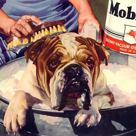 Detail Of Mobiloil Dog Clean Tough Good Protection 1940 | Best of 1940s Ad and Cover Art