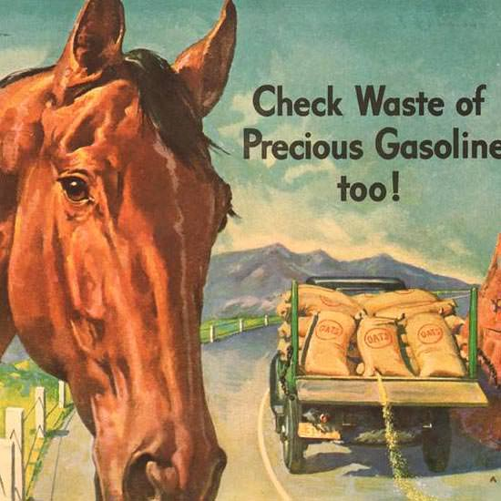 Detail Of Mobiloil Mobilgas Horse Wasting Rations 1943 | Best of 1940s Ad and Cover Art