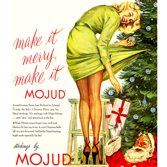 Detail Of Mojud Stockings Christmas Girl In High Heels 1951 | Best of Vintage Ad Art 1891-1970