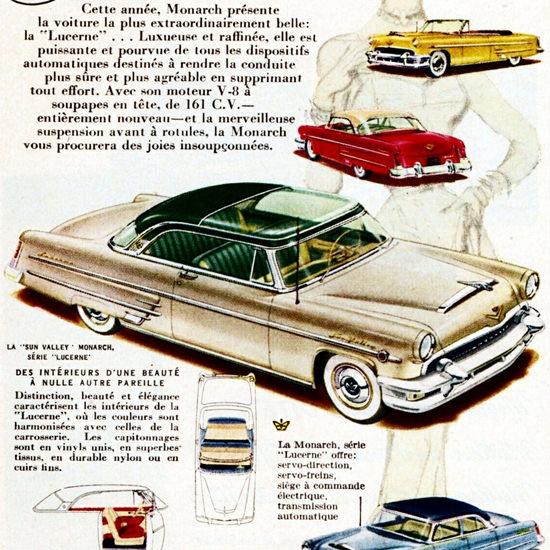 Detail Of Monarch Lucerne V8 161 HP Series 1954 | Best of Vintage Ad Art 1891-1970