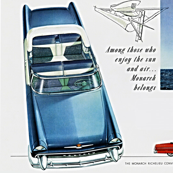 Detail Of Monarch Richelieu Convertible 1955 Enjoy Sun | Best of Vintage Ad Art 1891-1970