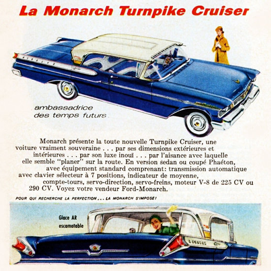 Detail Of Monarch V8 Turnpike Cruiser 225 HP 1957 | Best of Vintage Ad Art 1891-1970