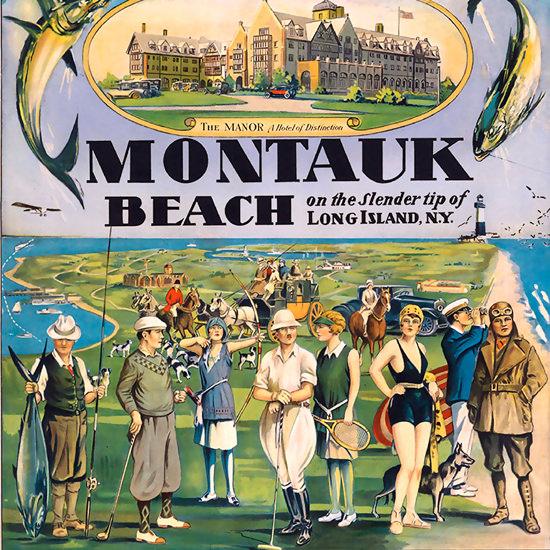 Detail Of Montauk Beach The Manor Hotel | Best of Vintage Ad Art 1891-1970