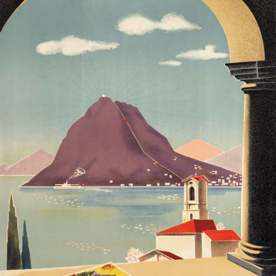 Detail Of Monte San Salvatore Lugano Funicolare 1940 | Best of 1940s Ad and Cover Art