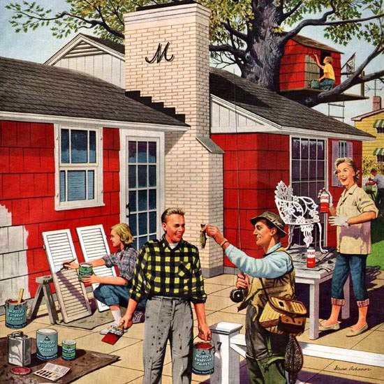 Detail Of Moore Paints House Painting 1960 | Best of Vintage Ad Art 1891-1970