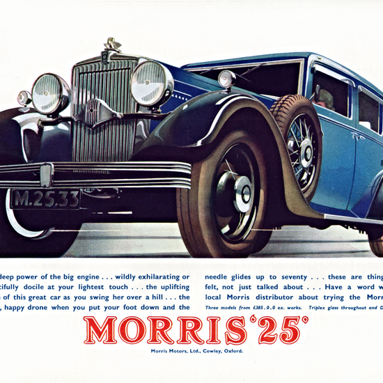 Detail Of Morris 25 1933 Blue Cowley | Best of Vintage Ad Art 1891-1970