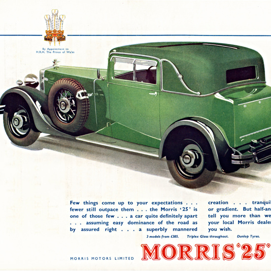 Detail Of Morris 25 Sports Coupe 1933 Cowley | Best of Vintage Ad Art 1891-1970