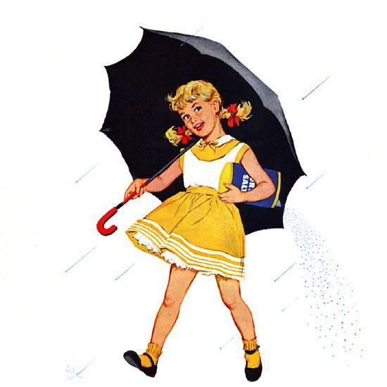 Detail Of Morton Salt 1957 When It Rains | Best of Vintage Ad Art 1891-1970