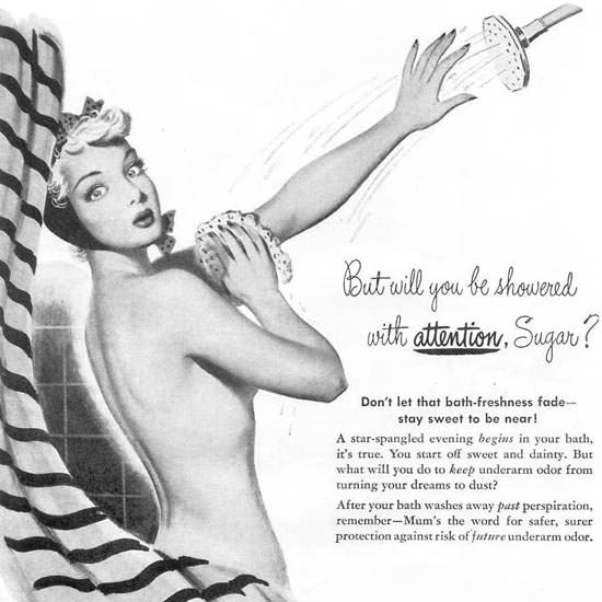 Detail Of Mum Safety-First Girl Showered Attention 1948 | Best of 1940s Ad and Cover Art