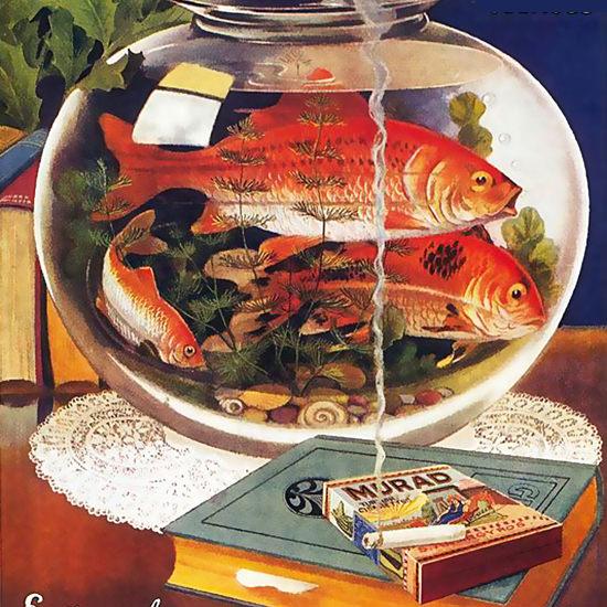 Detail Of Murad Turkish Cigarettes Goldfish | Best of Vintage Ad Art 1891-1970