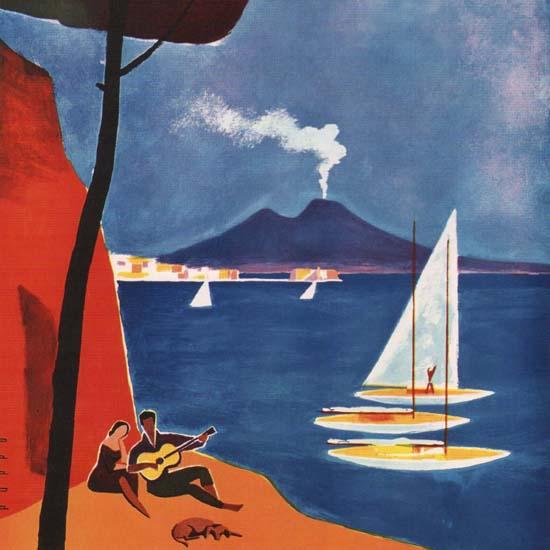 Detail Of Napoli Vesuvius Italy Italia | Best of Vintage Ad Art 1891-1970