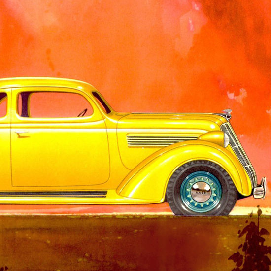 Detail Of Nash 400 Coupe 1935 Yellow | Best of 1930s Ad and Cover Art