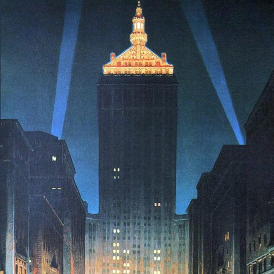 Detail Of New York Central Building Park Avenue 1930 | Best of Vintage Ad Art 1891-1970
