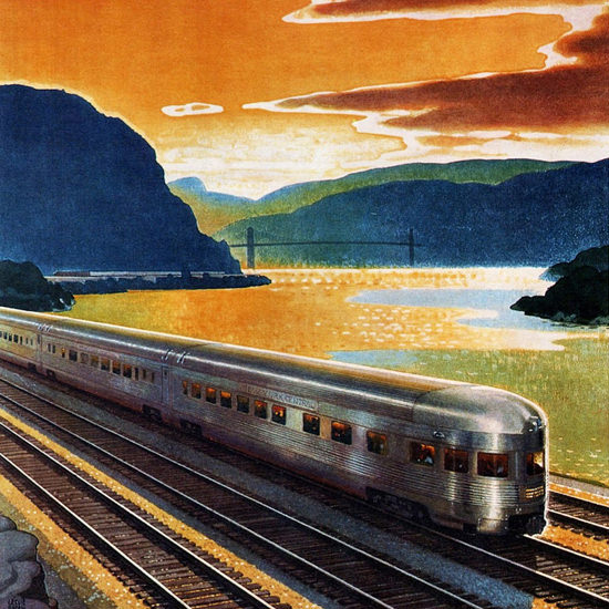 Detail Of New York Central Highlands Of The Hudson 1947 | Best of 1940s Ad and Cover Art