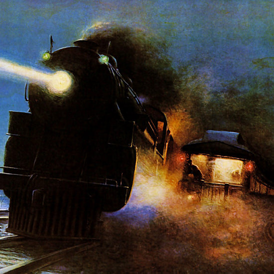 Detail Of New York Central Lines 1925 Night Scene | Best of 1920s Ad and Cover Art