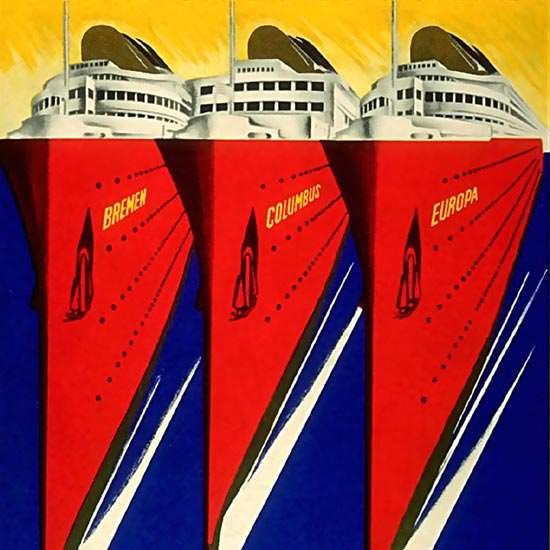 Detail Of Norddeutscher Lloyd Bremen Express-Steamer | Best of Vintage Ad Art 1891-1970