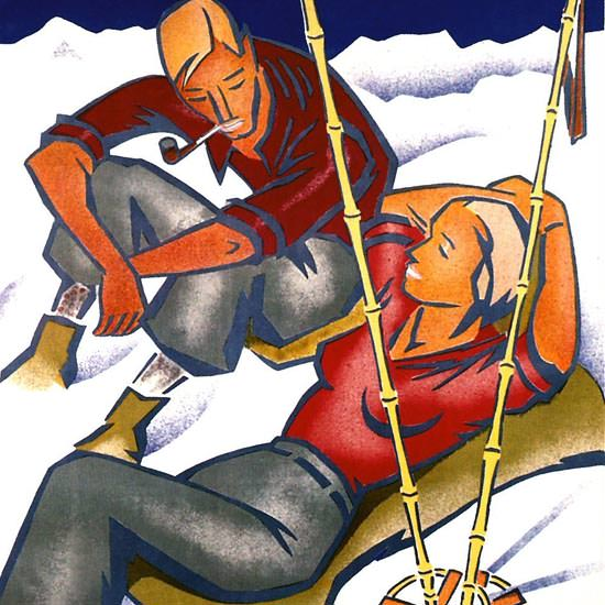 Detail Of Norge Skisportens Hjemland 1936 Engebret | Best of 1930s Ad and Cover Art