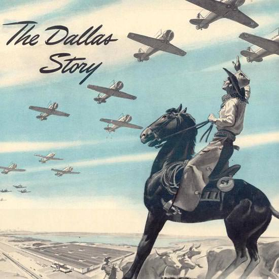 Detail Of North American Aviation Inc Dallas Cowboy 1941 | Best of 1940s Ad and Cover Art