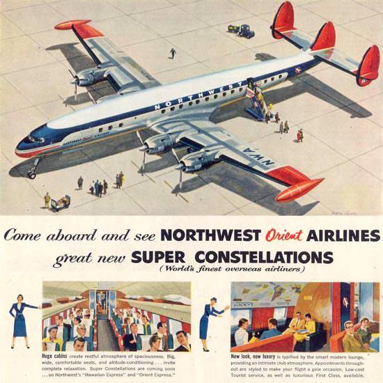 Detail Of Northwest Orient Air Super Constellation 1955 | Best of Vintage Ad Art 1891-1970