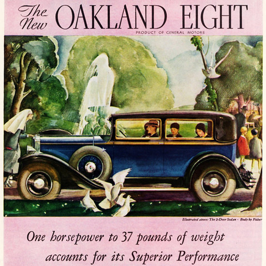 Detail Of Oakland Eight 1930 Superior Performance | Best of Vintage Ad Art 1891-1970