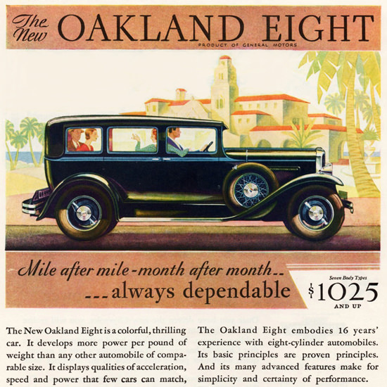 Detail Of Oakland Eight Sedan 1930 Dependable | Best of Vintage Ad Art 1891-1970