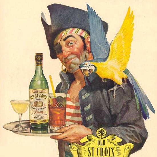 Detail Of Old St Croix Rum Pirate And Parrot 1944 | Best of Vintage Ad Art 1891-1970