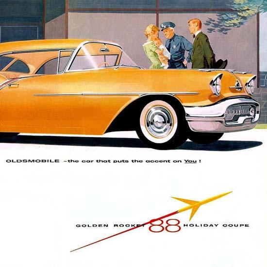 Detail Of Oldsmobile 1957 Golden Rocket 88 Holiday Coupe | Best of Vintage Ad Art 1891-1970