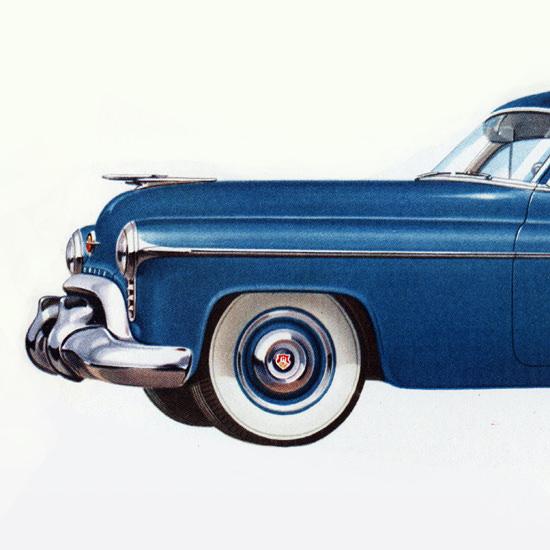 Detail Of Oldsmobile 98 4-Door Town Sedan 1950 | Best of Vintage Ad Art 1891-1970
