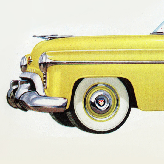 Detail Of Oldsmobile 98 Convertible Coupe 1950 | Best of Vintage Ad Art 1891-1970