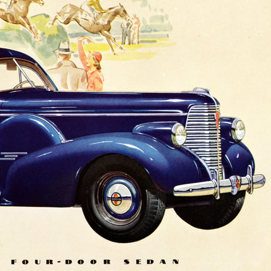 Detail Of Oldsmobile Eight Four Door Sedan 1938 | Best of Vintage Ad Art 1891-1970
