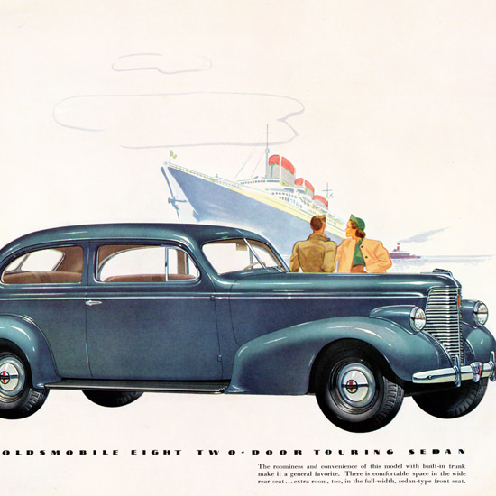 Detail Of Oldsmobile Eight Two Door Touring Sedan 1938 | Best of Vintage Ad Art 1891-1970