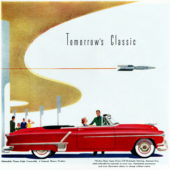Detail Of Oldsmobile Ninety Eight Convertible 1952 | Best of Vintage Ad Art 1891-1970